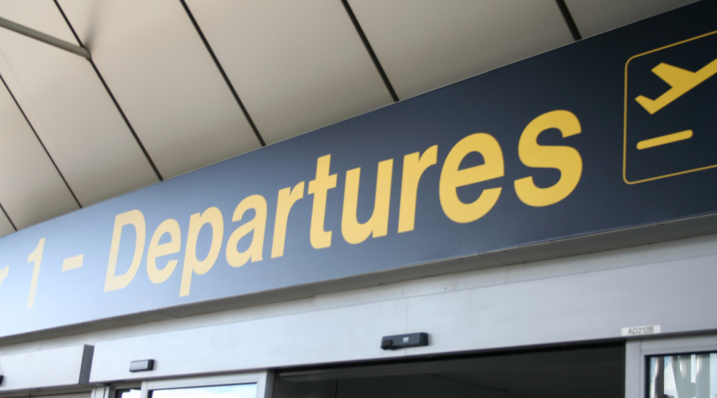 expat repatriation blues departure sign
